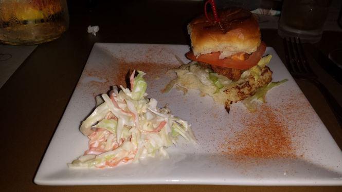 Shrimp Po' Boy on Sweet Hawaiian Roll with Coleslaw