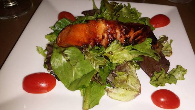 Asian Marinated Salmon -  Served in Honey Garlic Soy Sauce with Mixed Greens