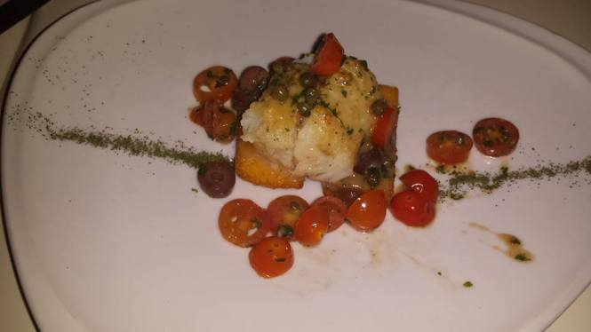 Baccala' alla Livornese con Polenta - Pan Seared Cod with Tomatoes, Black Olives, and Polenta