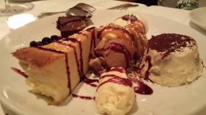 Dessert Platter with Coppa Scozzese, Panna Cotta,  Cheesecake, Chocolate Torte, Tiramisu.