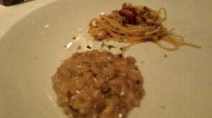 Risotto with Truffles and Porcini Mushrooms and Spaghetti in Garlic and Olive Oil with Clams, Pancetta, and Chili Peppers