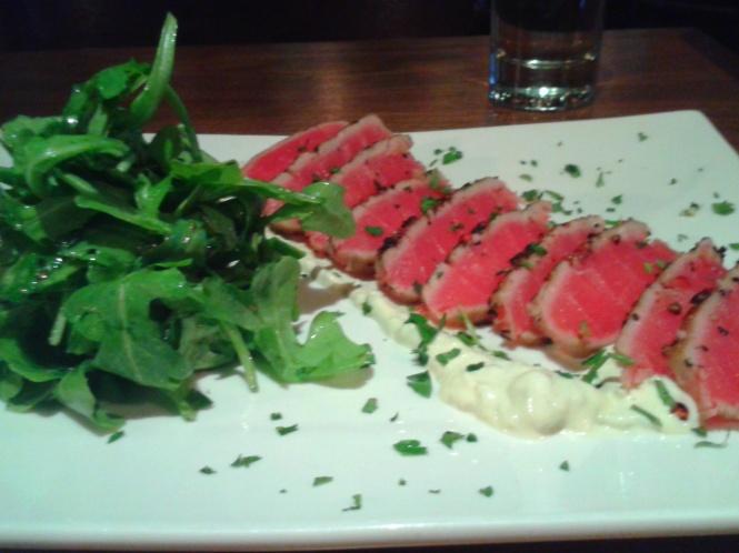 Pepper Crusted Seared Tuna. Yeah, that's a regular portion!