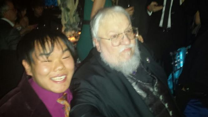 I met the incredible author of the books that inspired the series, George R.R. Martin. When I asked him for tips on combating writer's block, he reached for the wine glass!