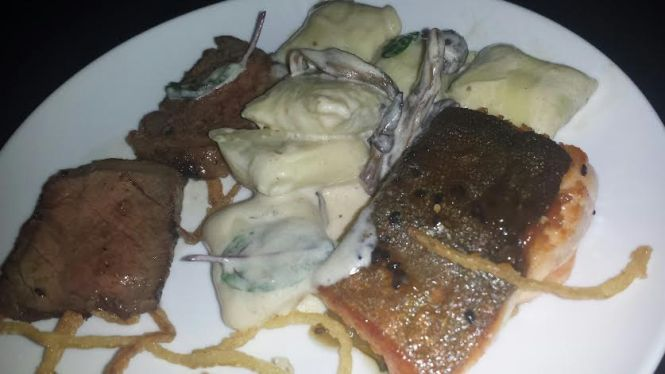 Fillet of Beef, Gnocchi with Mushrooms in a Cream Sauce, Arctic Char Marinated in Miso