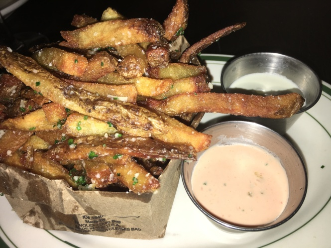 Truffle Fries with Blue Cheese and Malt House Sauce (Ketchup + Mayonnaise + Diced Pickles).